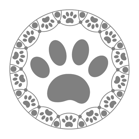 Paw print dog on the white background.