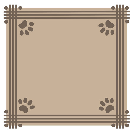 Frame beige background with paw prints animals
