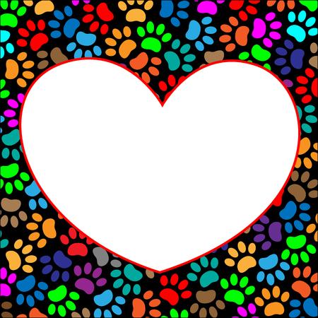 Multi-colored paw prints pet frame heart Illustration