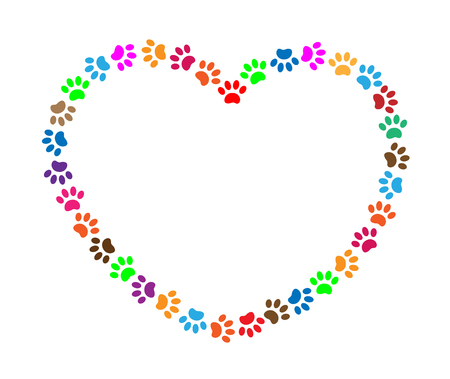 Colorful paw prints for your text.