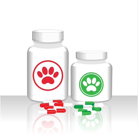 Drugs capsules for animals veterinary care concept poster. Illustration