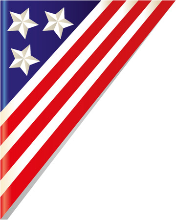 American flag corner frame with empty space.