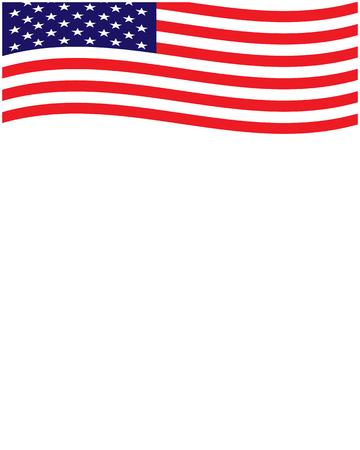 American flag frame with empty space Ilustração
