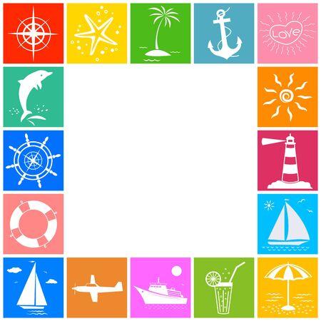 Summer vacation sea symbols frame Ilustração