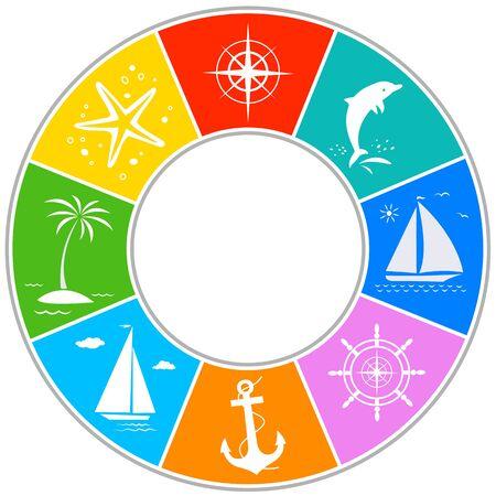 Sea ocean travel summer symbol circle icon frame Ilustração