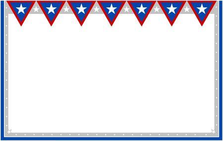 United States flag decorative banner frame card.
