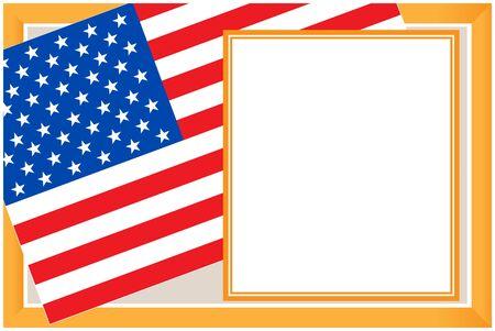 United States flag golden frame poster. Ilustração