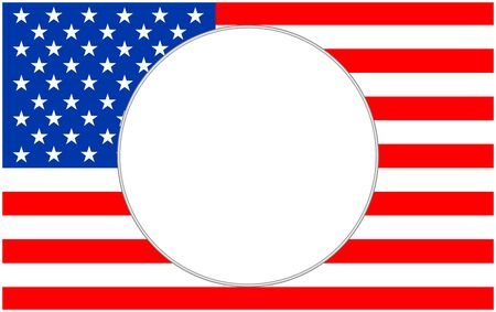 United States flag with round empty space for text.