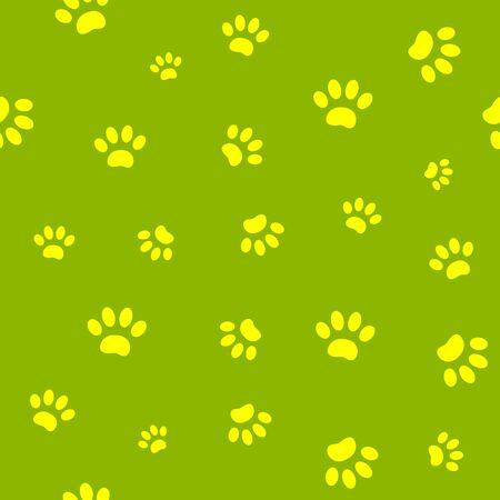 Seamless pattern of yellow paw prints on green background. Ilustração