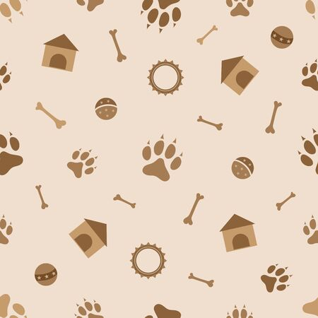 Seamless pattern with dog paw, kennel, play ball and collar.