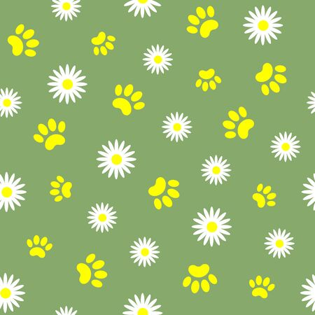 Summer green seamless pattern with pet paw prints.