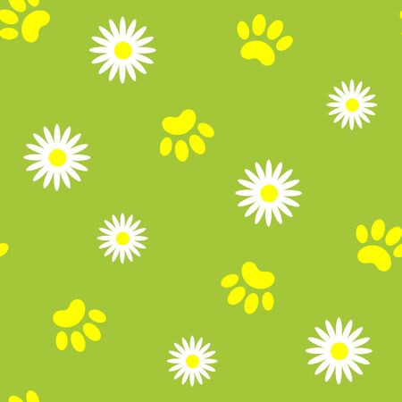 Summer seamless pattern with pet paw prints.