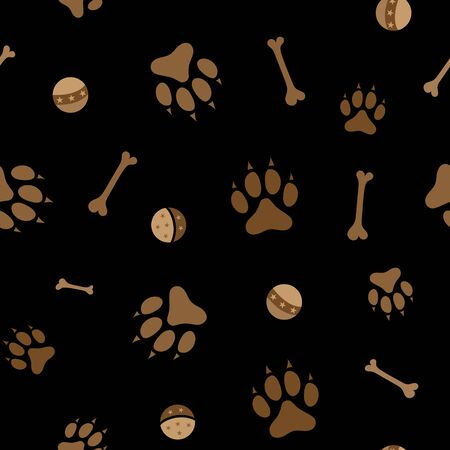 Dog paws bones and balls seamless pattern.