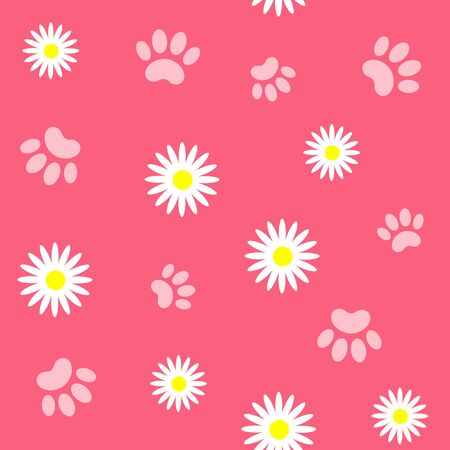 Summer floral pink seamless pattern with pet paw prints