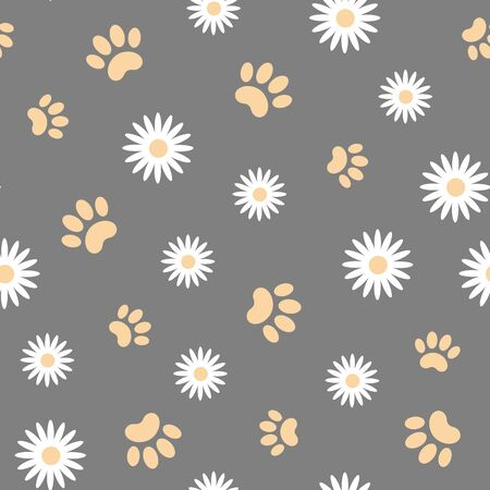 White daisies and animal paws seamless pattern.