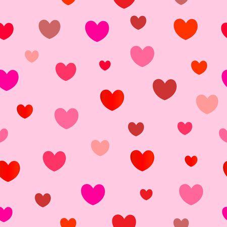 Seamless pattern of hearts on a pink background. Ilustração