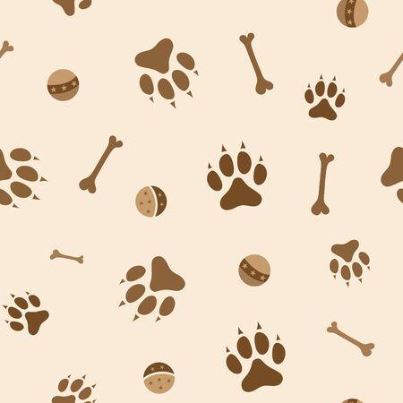 Dogs paw, bone and ball game seamless pattern. Ilustração