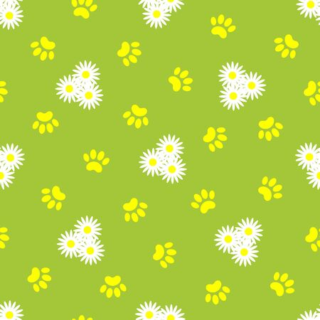 Daisies and animal paw prints on green summer background seamless pattern background. Ilustração