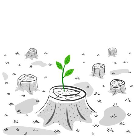 Green sprout on the stump - caring for nature concept, environmental conservation, new life symbol, success Ilustração