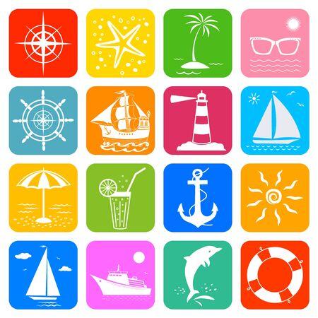 Summer sea ocean vacation travel cruise icons set.