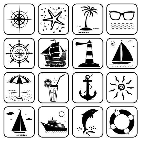 Summer sea vacation travel icons set. Ilustração