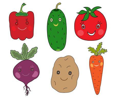 Vegetables pepper, cucumber, tomato, beetroot, potato, carrot.