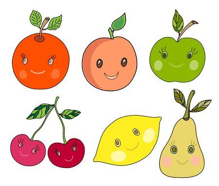 Cute fruit orange, apricot, apple, cherry, lemon, pear set in style. Ilustração