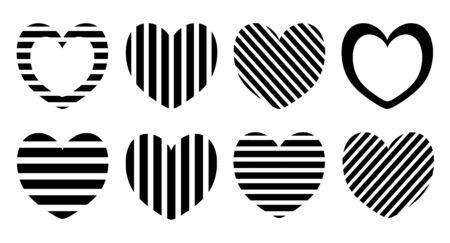 Black and white striped hearts isolated set Ilustração
