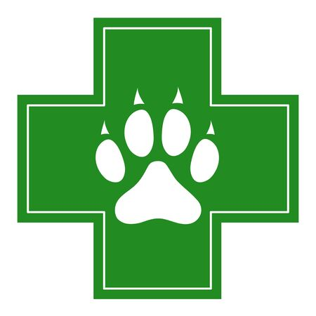 Dog paw on green cross veterinary clinic pharmacy symbol.