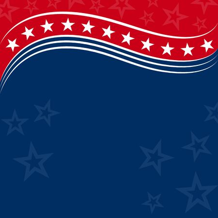 American flag symbols background with stars and clear blue space for your text. Ilustrace