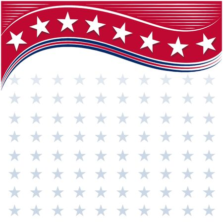 American flag symbols background with stars and empty white space for your text. Ilustrace