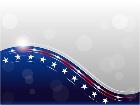 American flag wave pattern background with empty space for your text and design. Ilustrace