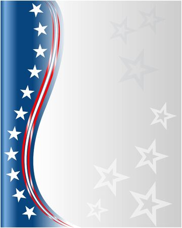 American flag symbols background frame border with stars and clear blue space for your text.