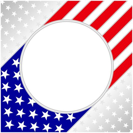 USA flag symbolism background with round frame for your text.