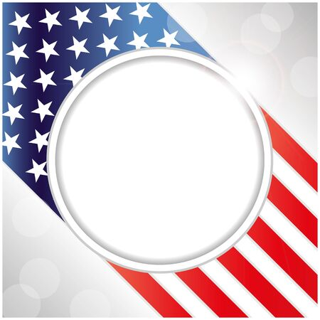 USA flag symbolism background with round frame for text.  イラスト・ベクター素材