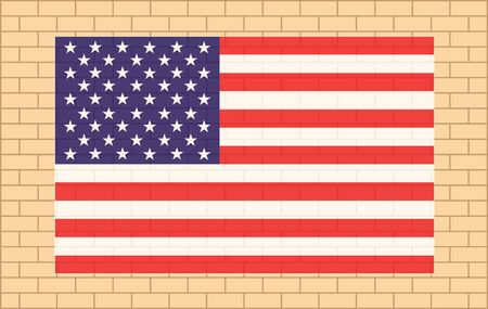 USA flag on beige brick wall poster banner background