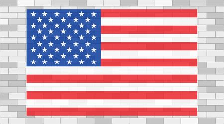 USA flag on brick wall poster banner background