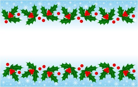 Christmas Holly leaves banner frame with empty space for your text.