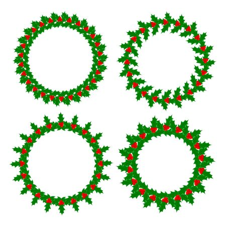 Holly leaves berries wreaths frames set isolated on white background with empty space for your text, design element.