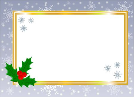 Golden shiny Christmas card border with Holly leaf on silver background with copy space for your text.