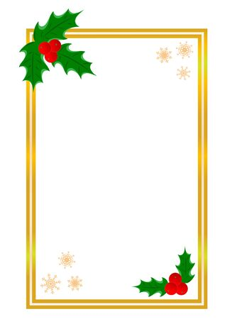 Golden shiny Christmas card border template with Holly leaf with copy space for your text.
