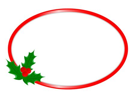 Christmas greeting card oval border template with Holly leaf with copy space for your text. 일러스트