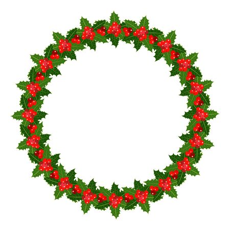 Holly leaves berries wreath frame isolated on white background with empty space for your text, design element.