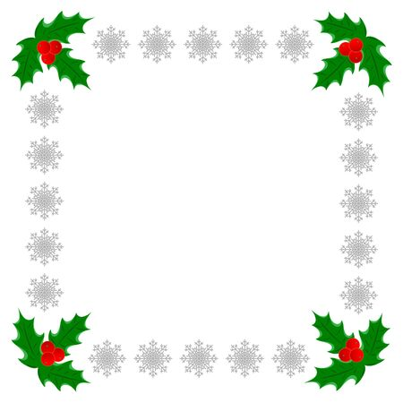 Christmas greeting decorative card frame template with Holly leaves and silver snowflakes with copy space for your text.