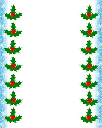 Christmas greeting decorative card frame template with Holly leaves and snowflakes with copy space for your text.