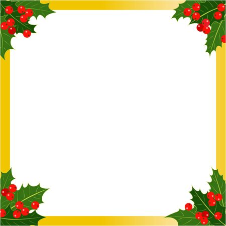 Christmas golden border with Holly leaves berries with empty space for your text.