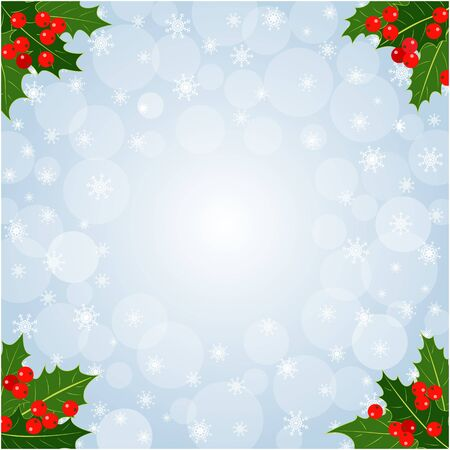 Christmas decorative card background with Holly leaves with copy space for your text.