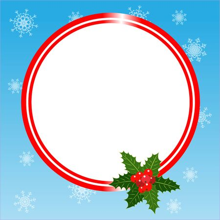 Round Christmas frame card template with Holly leaves with copy space for your text.