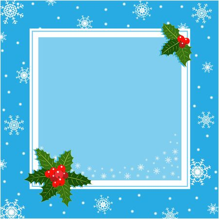 Blue Christmas card frame with Holly leaves with copy space for your text. 일러스트
