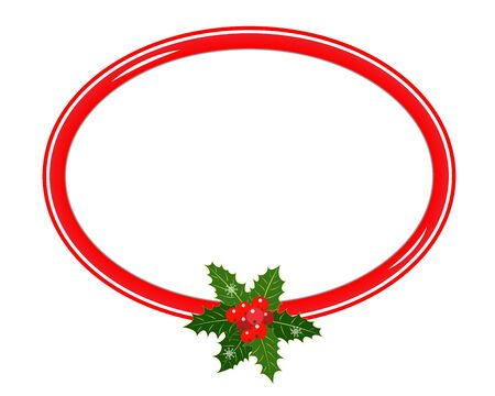 Christmas greeting card oval border template with Holly leaf with blank space for your text.